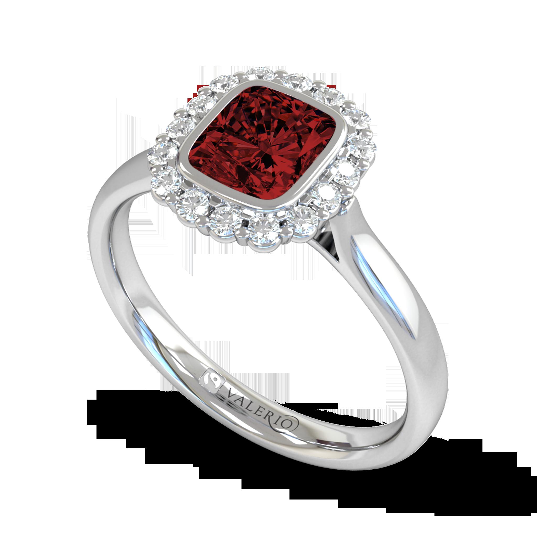 Ethical Nyala Ruby and Diamond Engagement Ring.