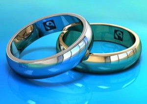 Two Fairtrade gold wedding rings.