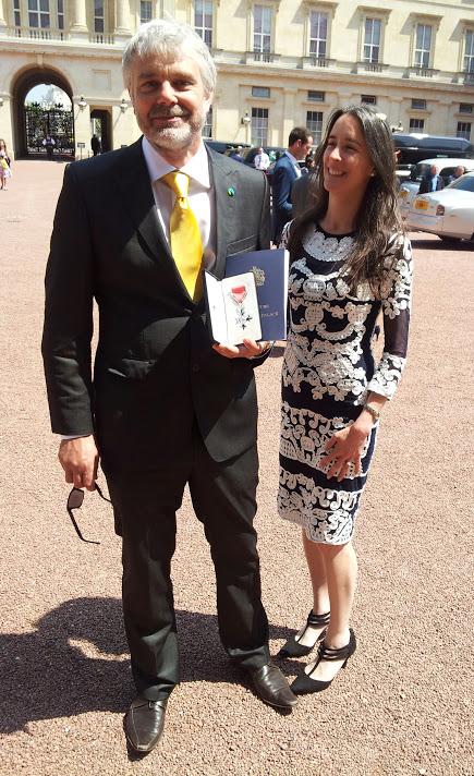 MBE award celebrating with Ruth Valerio my wife