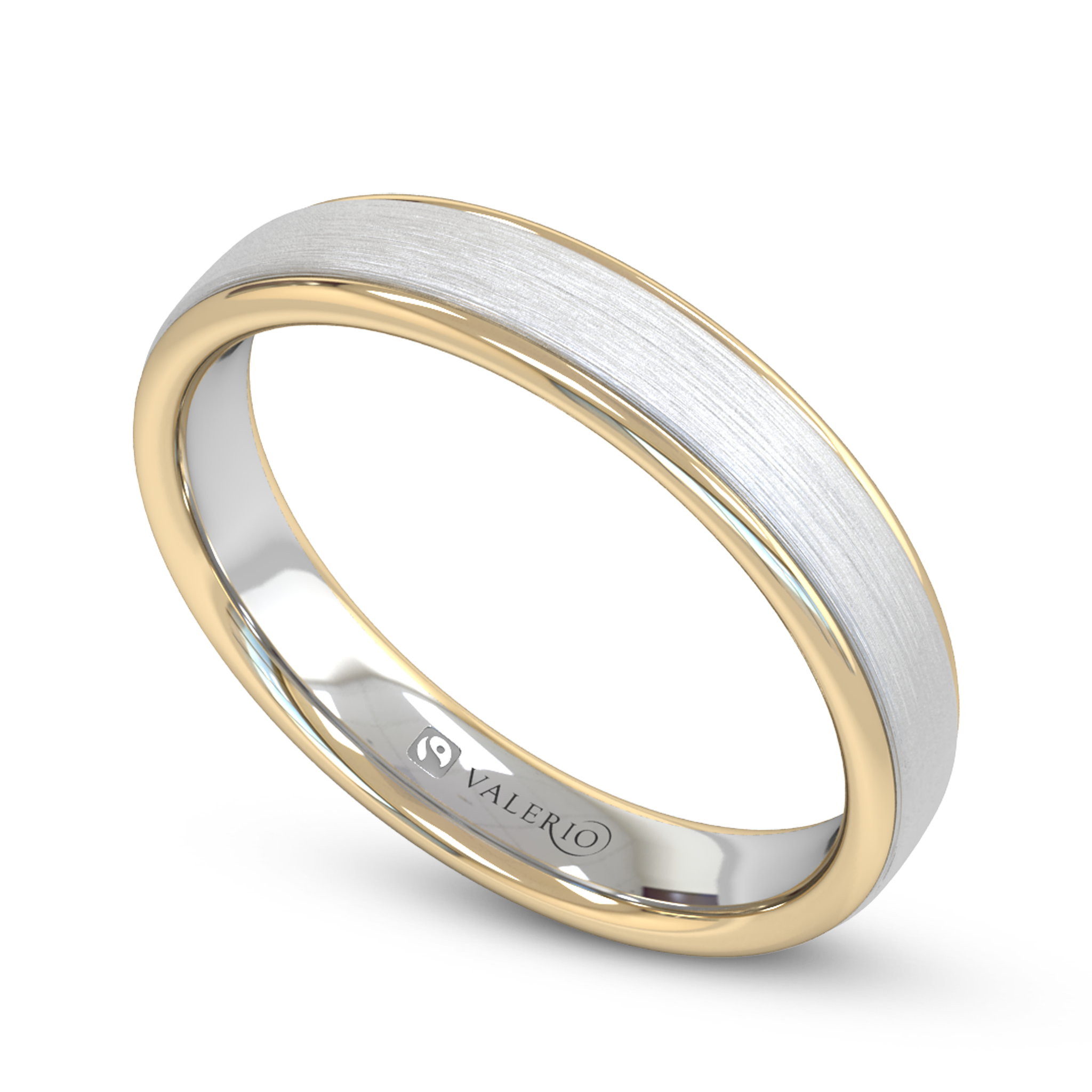 A stylish Fairtrade Court wedding ring created from white and yellow 18ct gold. An iconic symbol of matrimonial love. £1000