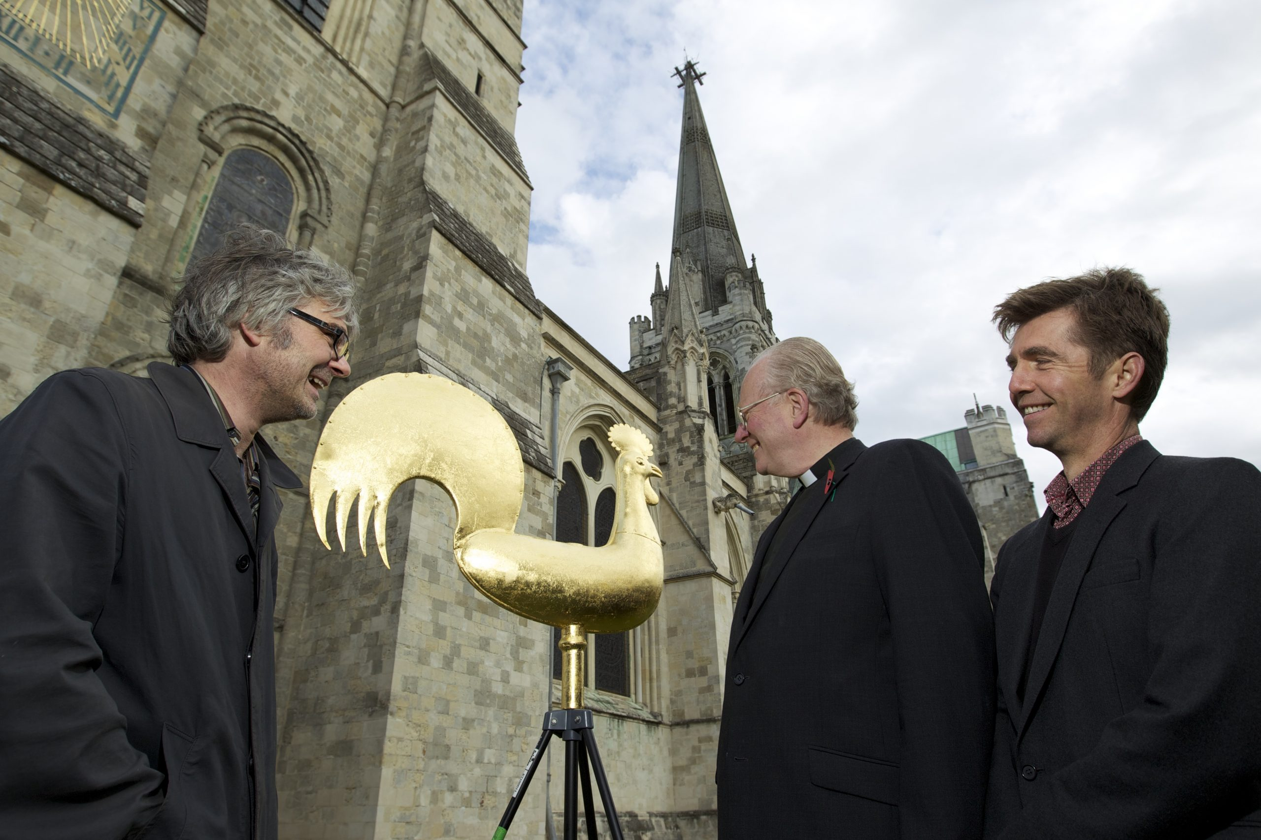 Chris Davis from Fairtrade Foundation, the Dean of Chichester Cathedral Nicholas Frayling and myself enjoying the moment at the launch of Chichester Cathedrals Fairtrade Gold Weather Vein.