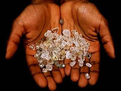 Rough Diamond in the hands of a small-scale miner