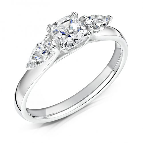 3 Stone Diamond Ring. Cushion Cut Centre stone with Pear Cut Stones on sides