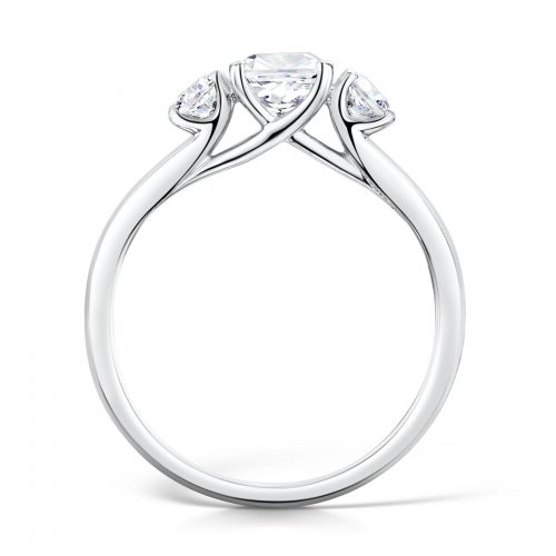 3 Stone Ring with Cushion Cut and 2 x Round Cut Outer Profile