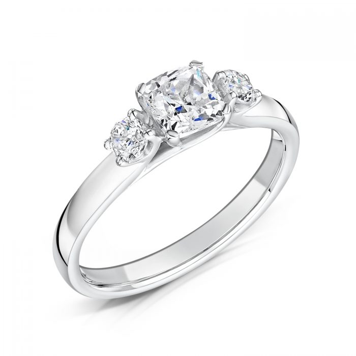 3 Stone Ring with Cushion Cut and 2 x Round Cut Outer Tilt