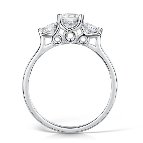 3 Stone with Brilliant Rounded Centre and Brilliant Round Stones On Sides
