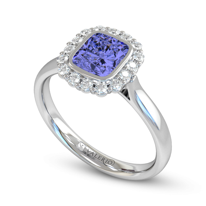 Blue Sapphire & Diamond Cluster Engagement Ring