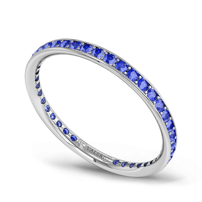 Blue Sapphire and Fairtrade White Gold Eternity Ring