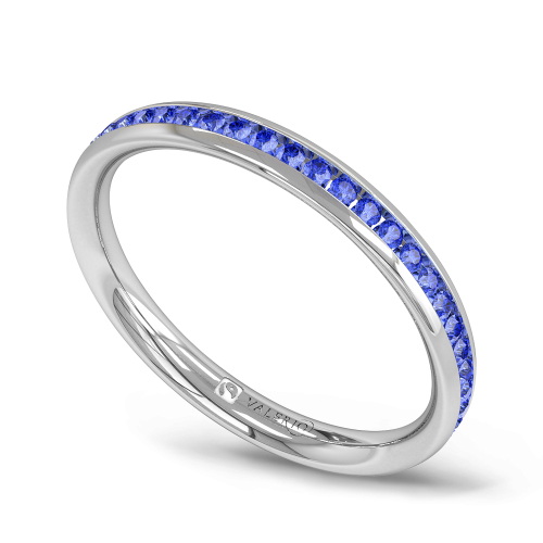 Blue Sapphire half Fairtrade White Gold Eternity Ring