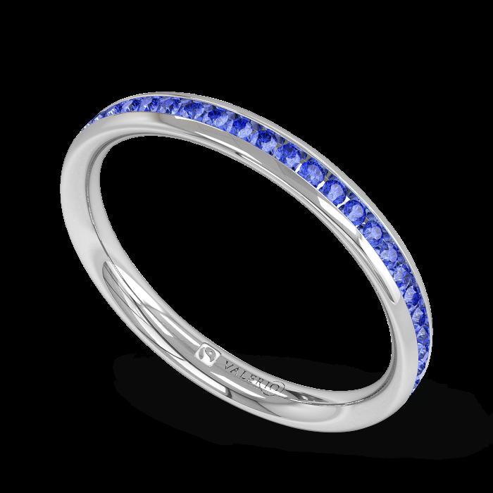 Blue Sapphire half Fairtrade White Gold Eternity Ring