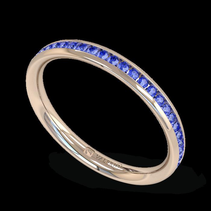 Blue Sapphire half Fairtrade Rose Gold Eternity Ring