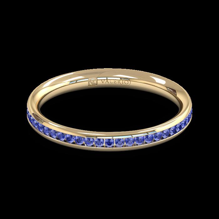 Blue Sapphire half Fairtrade Yellow Gold Eternity Ring