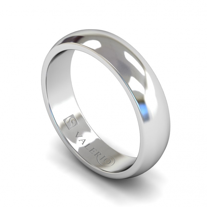 D Shaped FairTrade 18k White Gold Wedding Ring