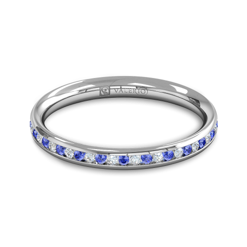 Diamond BlueSapphire half Fairtrade Gold Eternity Ring