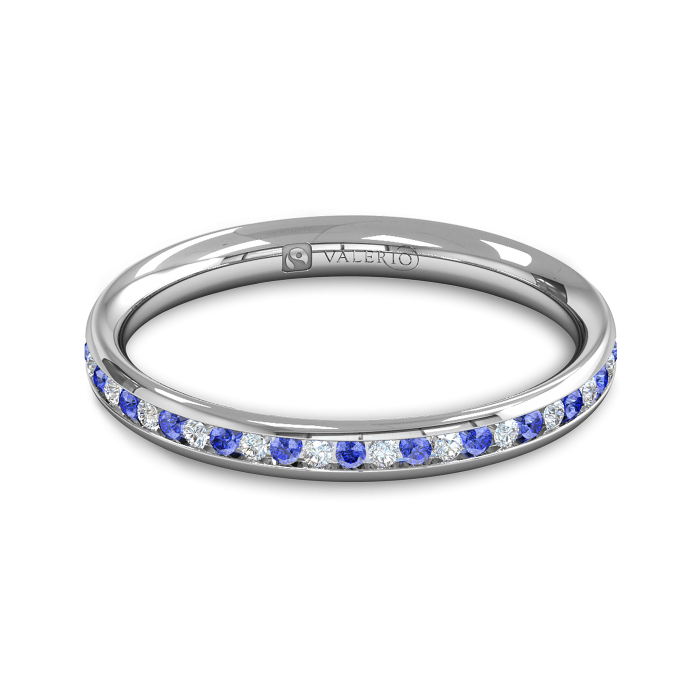Diamond BlueSapphire half Fairtrade Gold Eternity Ring