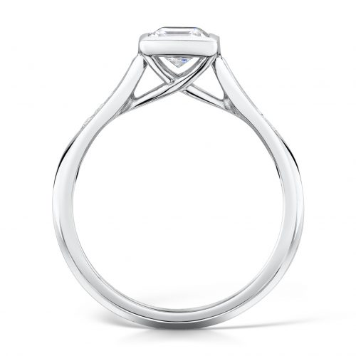 Diamond Ring. Princess Cut Centre stone Rubover with diamonds on sides Profile