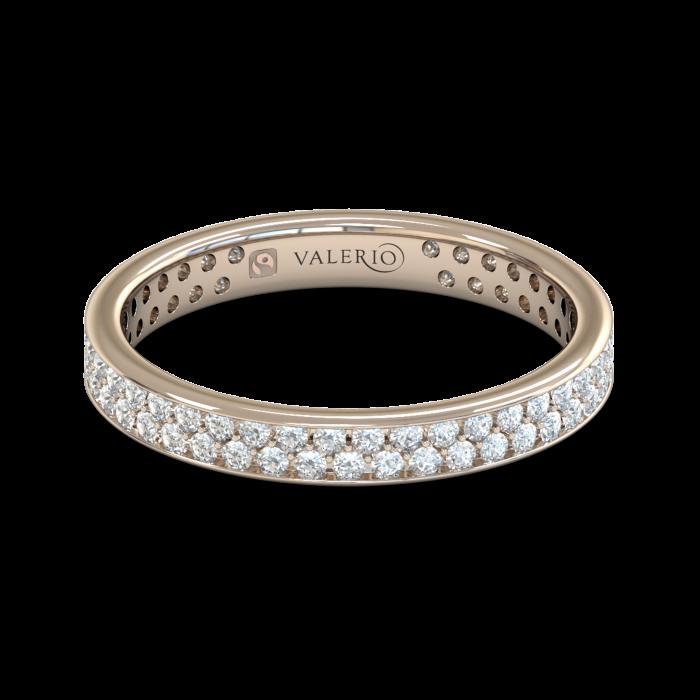 Grain set Diamond Fairtrade Rose Gold Eternity Ring top