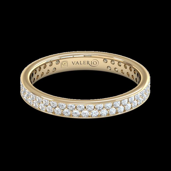Grain set Diamond Fairtrade Yellow Gold Eternity Ring top