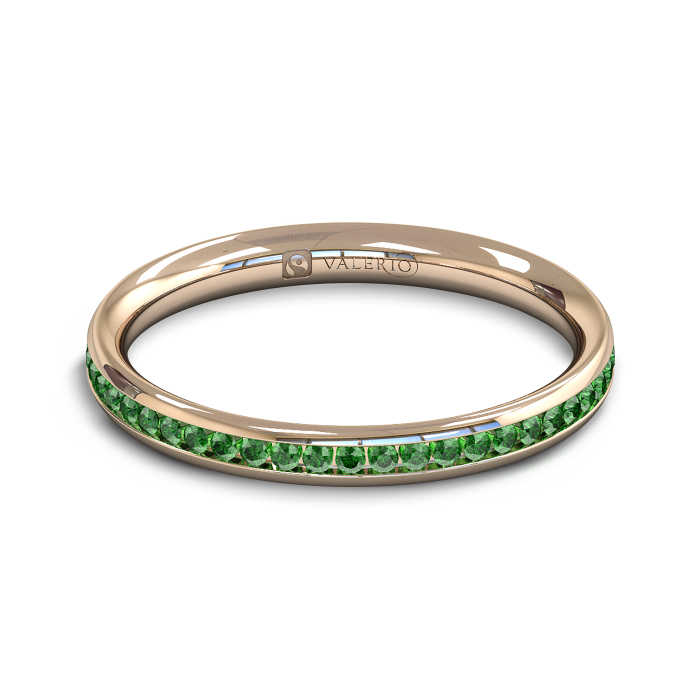 Emerald half Fairtrade Rose Gold Eternity Ring