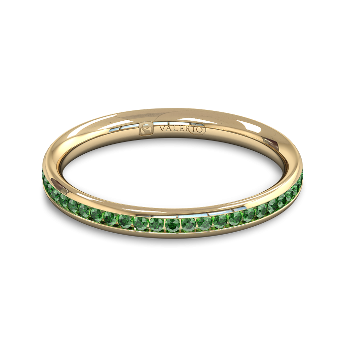 Emerald half Fairtrade Yellow Gold Eternity Ring