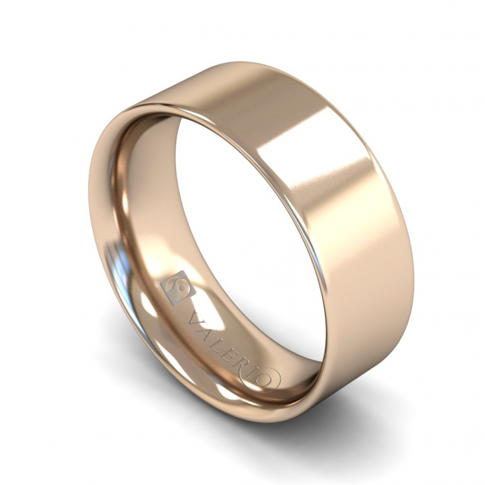 Flat Court ( Comfort Fit ) FairTrade 18k Rose Gold Wedding Ring
