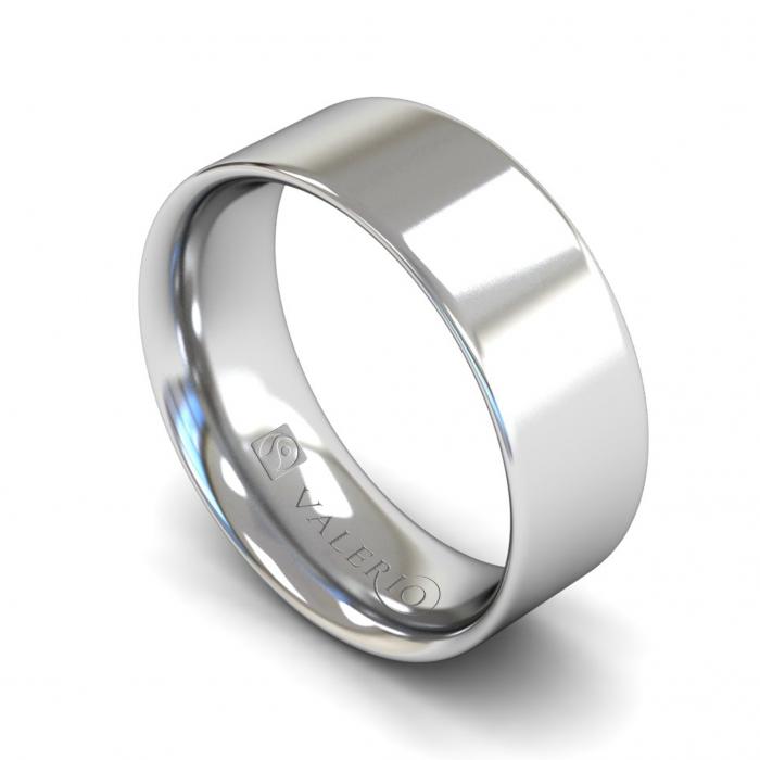 Flat Court ( Comfort Fit ) FairTrade 18k White Gold Wedding Ring