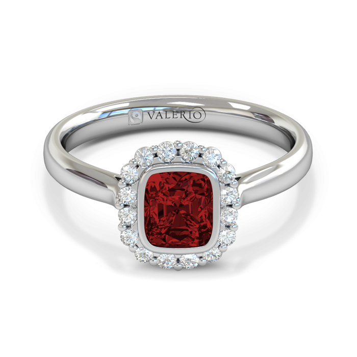 Greenland Ruby & Diamond Cluster Engagement Ring