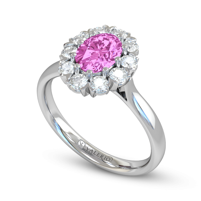 Oval cut Pink Sapphire and Diamond Engagement Ring