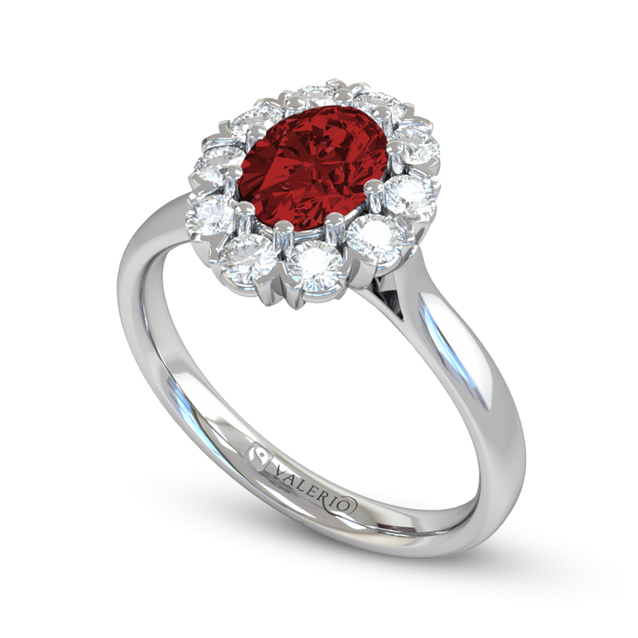 Greenland Ruby and Diamond Cluster Engagement Ring