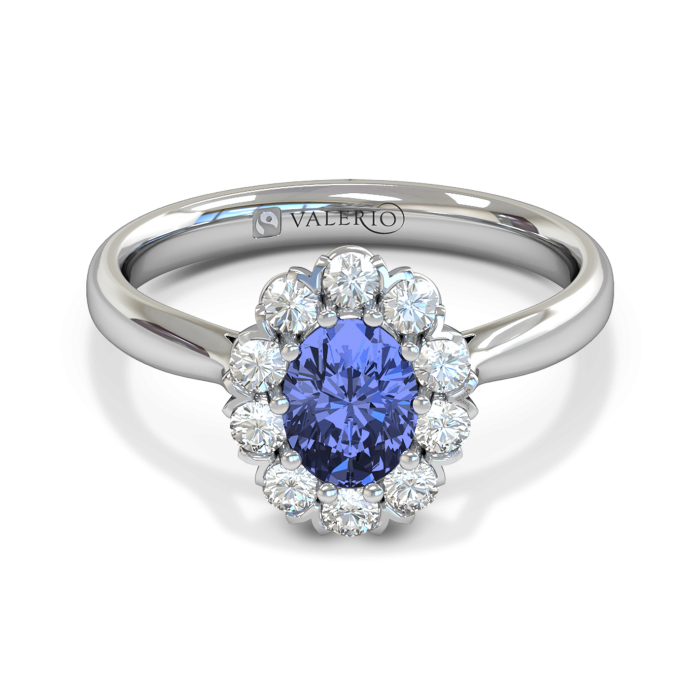 Oval Blue Sapphire and Diamond Cluster Engagement Ring