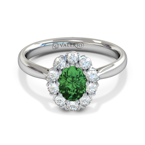 Oval Emerald and Diamond Cluster Engagement Ring
