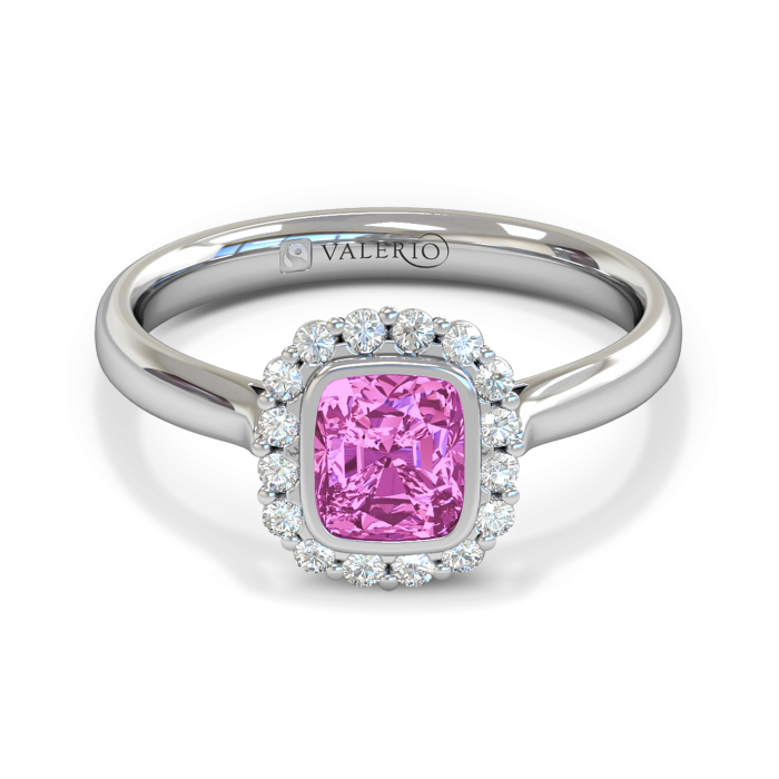 Pink Sapphire & Diamond Cluster Engagement Ring