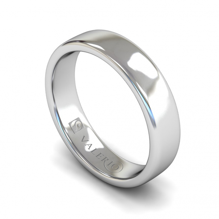 Slight Court ( Comfort Fit ) FairTrade 18k White Gold Wedding Ring With Flat Edge
