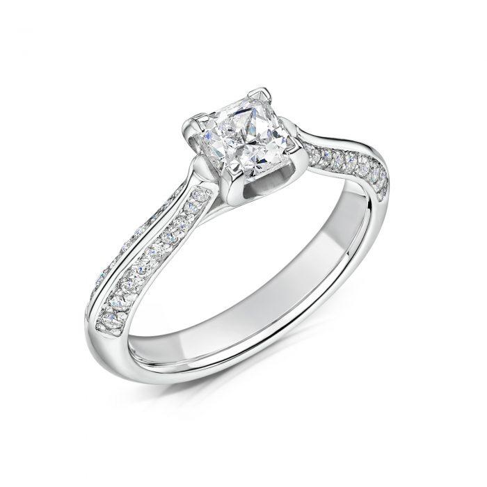 Solitaire Diamond Ring Princess Cut with Double row Diamonds on Shoulders Tilt