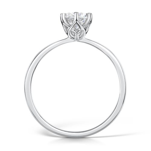 Solitaire Diamond Ring Round Brilliant Cut Six Claw setting Profile