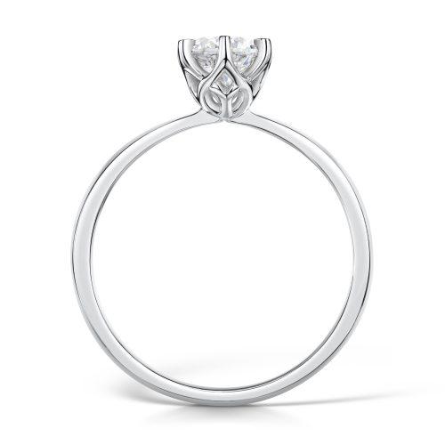 Solitaire Diamond Ring Round Brilliant Cut Six Claw setting Profile