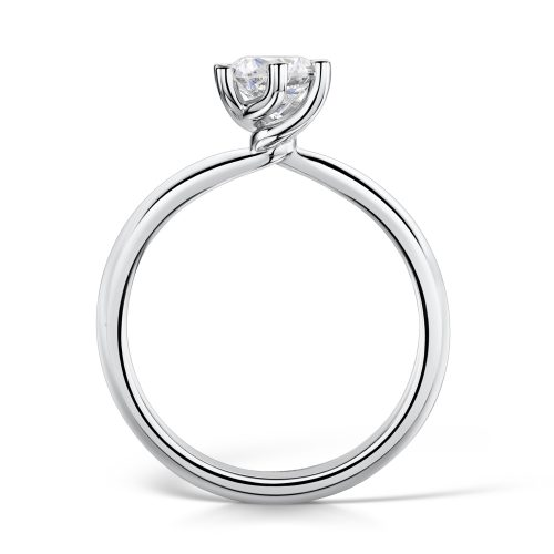 Solitaire Diamond Ring With A Round Brilliant Rounded Stone On A Rounded Tapered Shank