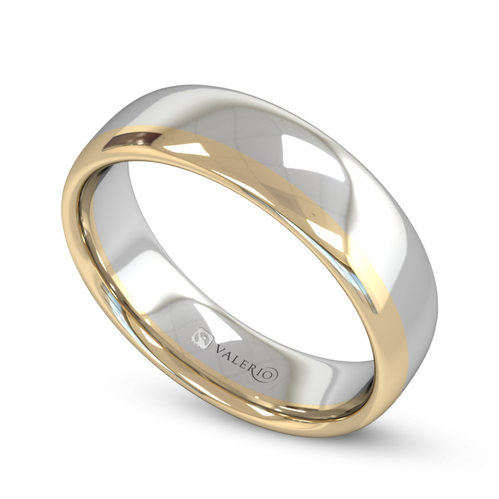 White and Yellow Fairtrade Gold Wedding Ring