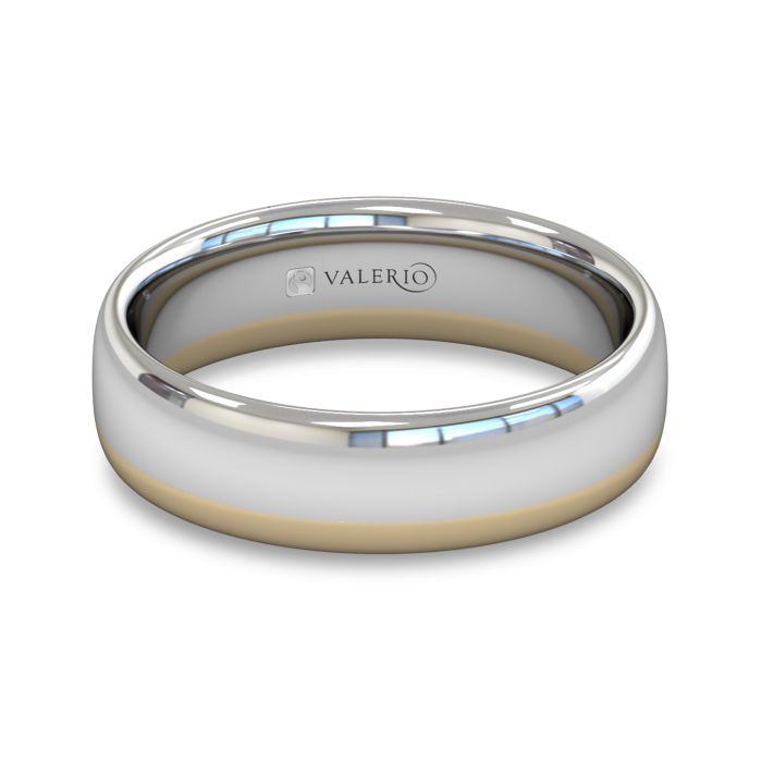 White and Yellow Fairtrade Gold Wedding Ring top