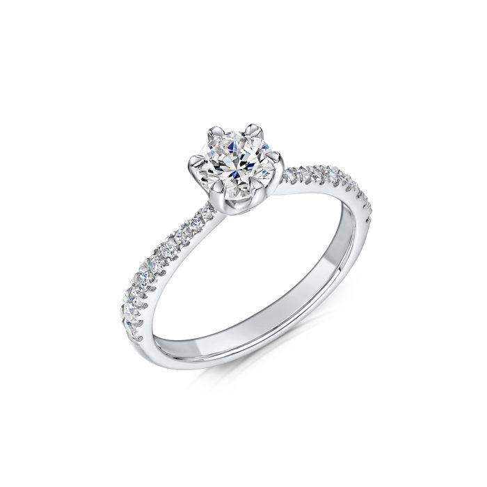Solitaire Diamond Ring Round Brilliant Cut Six Talon Claws Diamond Edged