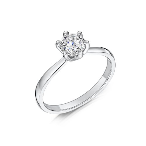 Solitaire Diamond Ring Round Brilliant Cut Six Talon Claws