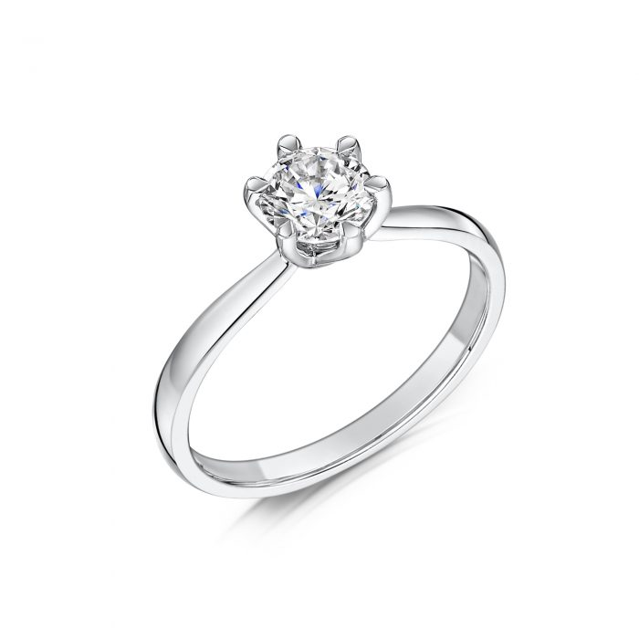 Solitaire Diamond Ring Round Brilliant Cut Six Talon Claws