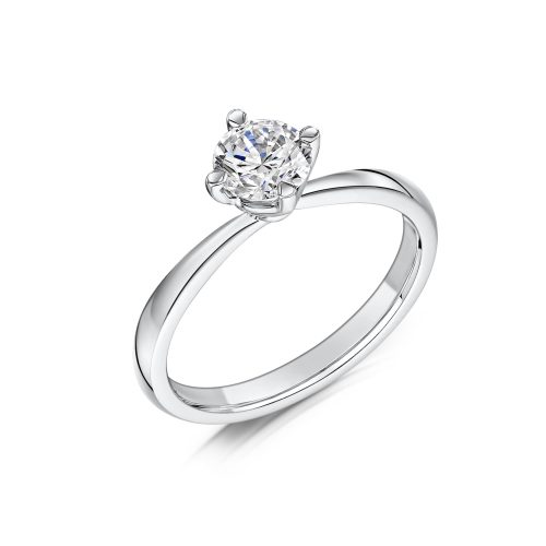 Solitaire Diamond Ring Round Brilliant Cut With Four Talon Twisted Claws
