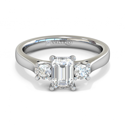 Emerald cut Diamond Trilogy Engagement Ring Top